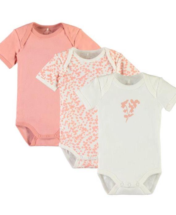 Pack 3 Body bebé mc hojas rosa de Name it