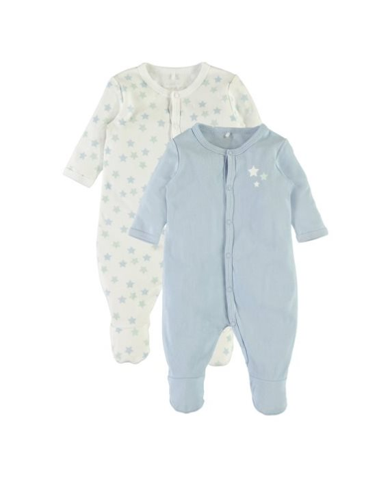 Pack 2 peleles estrellas azul Nightsuit bebé de Name it