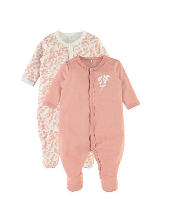 Pack 2 peleles bebé hojas rosa de Name it