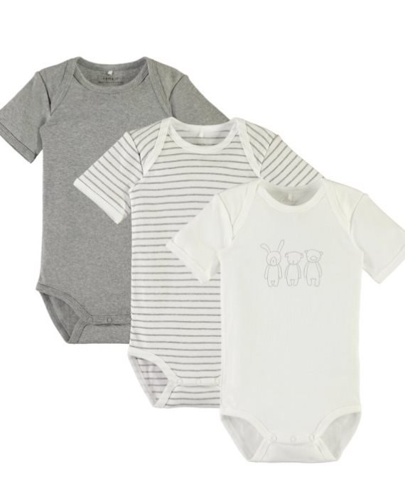 Pack 3 bodys m/c animales mini unisex de Name it